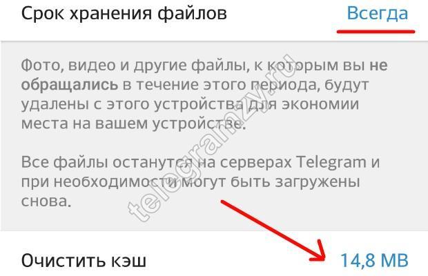 Выбор параметров кеша в Телеграмм
