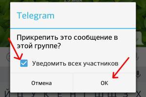 Информация о закреплённом сообщении в Телеграмм