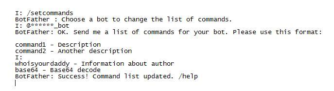 Для мобильных Telegram перечень команд