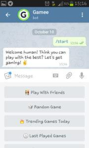 Gamee menu Telegram